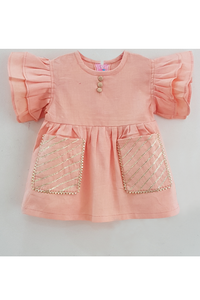 Peach gota embroidered dress