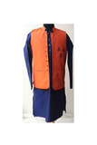 Dad and son orange/blue raw silk embroidered nehru jacket and kurta