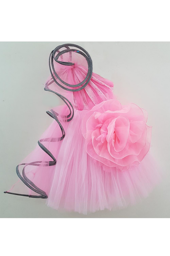 3D rose pink organza big flower gown