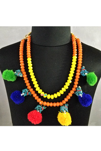 Dual colored pom pom necklace