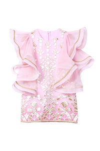 Asymmetric bell sleeves pink sparkle dress