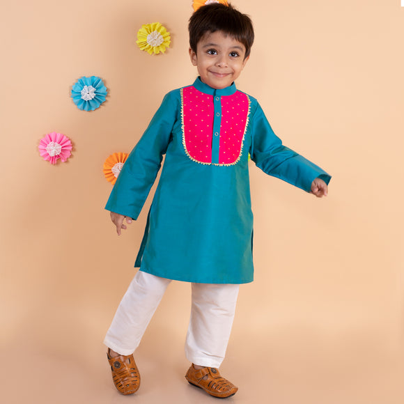Blue cotton kurta with white pyjama