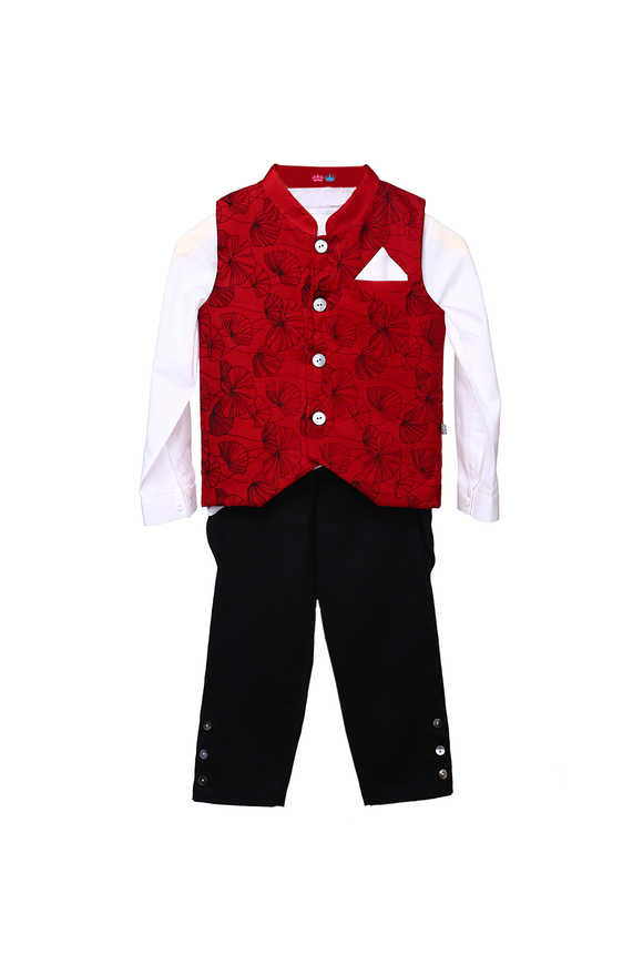 Organic Printed Waistcoat With Matching Shirt And Jodhpur Pants For Baby Boys