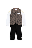 Organic stylish Printed Waistcoat With Matching Shirt And Jodhpur Pants For Baby Boys