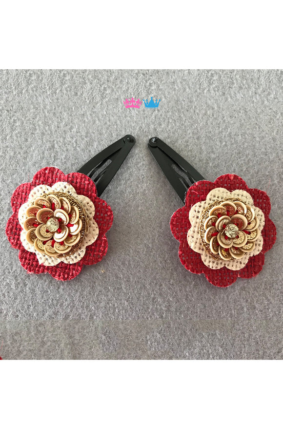 Organic flower theme hair clips