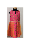 Coral/Polka/orange khadhi printed Dress