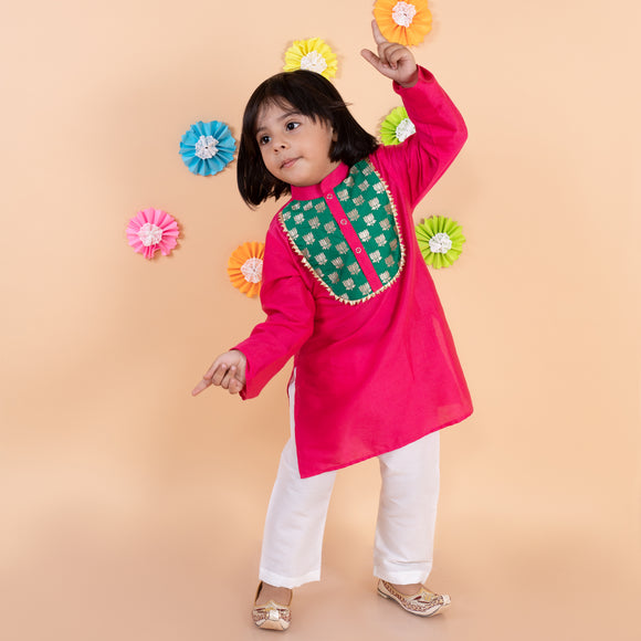 Hot pink cotton kurta with white pyjama