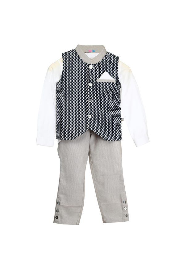 Organic Geometric Printed Waistcoat With Matching Shirt And Jodhpur Pants For Baby Boys