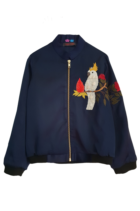 Cockatoo satin jacket for winters