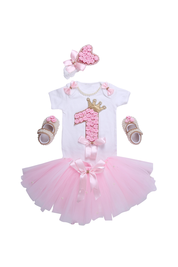 Pink Floral First Birthday Tutu Outfit