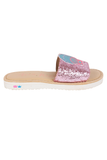 Pink flip-flops with shell patch
