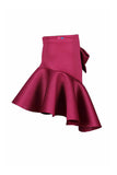 Burgundy Bow Pocket Ruffle Skirt