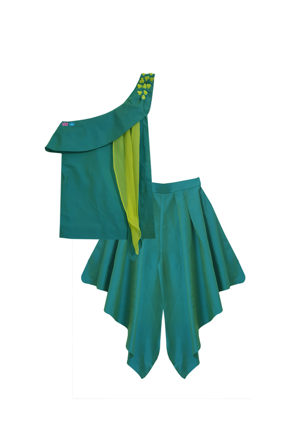 Sea green one shoulder top with pleated dhoti