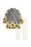 Palm Tree Kurta with Nehru Jacket and Pajama Set