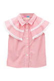 Pink Stripe Shirt With Shoulder Flaps