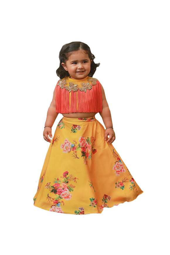 Yellow and Coral Indo Western Ghagra Choli Set