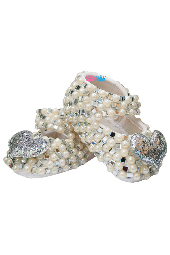 Silver Heart ,White Pearl And Silver Swaroski Shoes