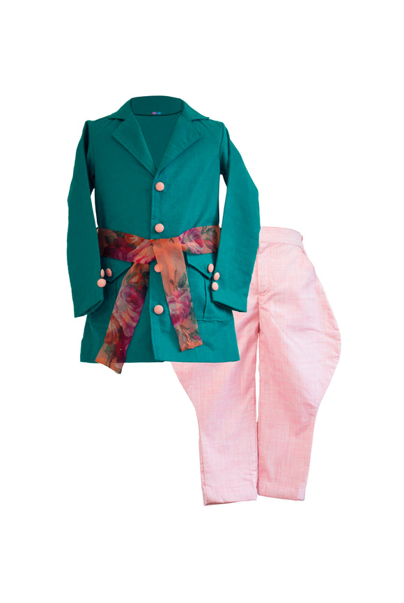 Boys Teal Linen Long Jacket With Peach Polo Pants