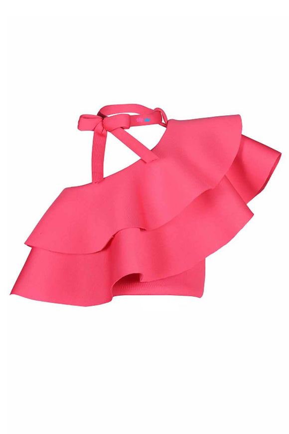 Rose Pink Knot Single Shoulder Ruffle Crop Top