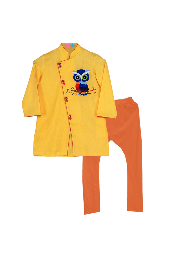 Yellow Owl Kurta With Orange Churidar