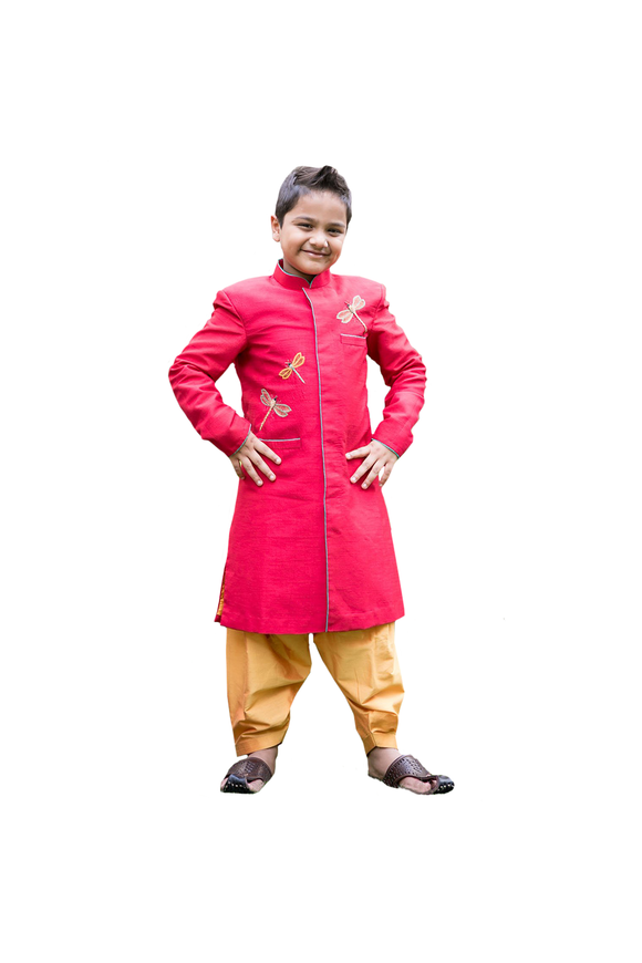 Red dragon fly sherwani