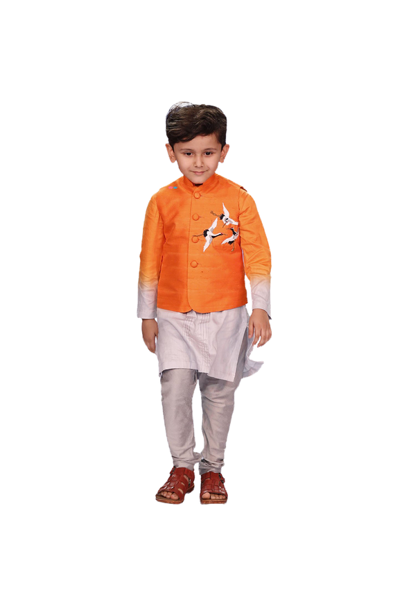 Shaded Orange Kurta With Nehru Jacket And Churidar Set
