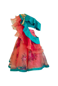 Rose Peach Lehenga with One Shoulder Green Choli and Layered Dupatta