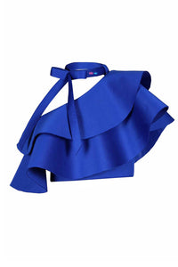 Royal Blue Bow Knot Single Shoulder Ruffle Crop Top