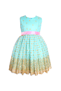 Sky blue net dress with pink bow