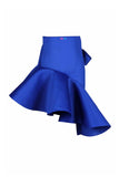 Royal Blue Bow Pocket Ruffle Skirt