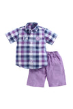 Patch Set Mauve Shorts With Purple Check Shirt