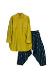 Green Pathani With Blue Printed Patiala
