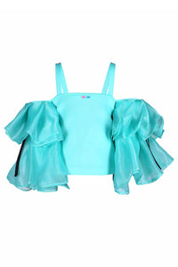 Mint Green Crop Top With Organza Bouquet Sleeves
