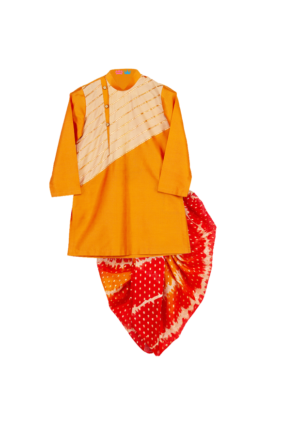 Gota Work Kurta With Printed Kota Dhoti