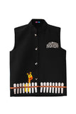 Black Nehru Jacket With a Giraffe Embroidery