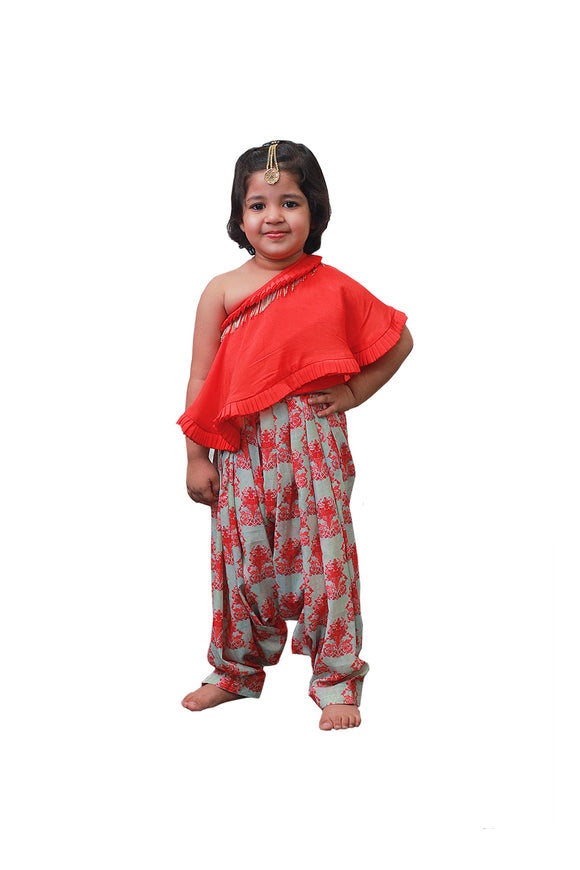 Red Top with Pista Green Patiala Set
