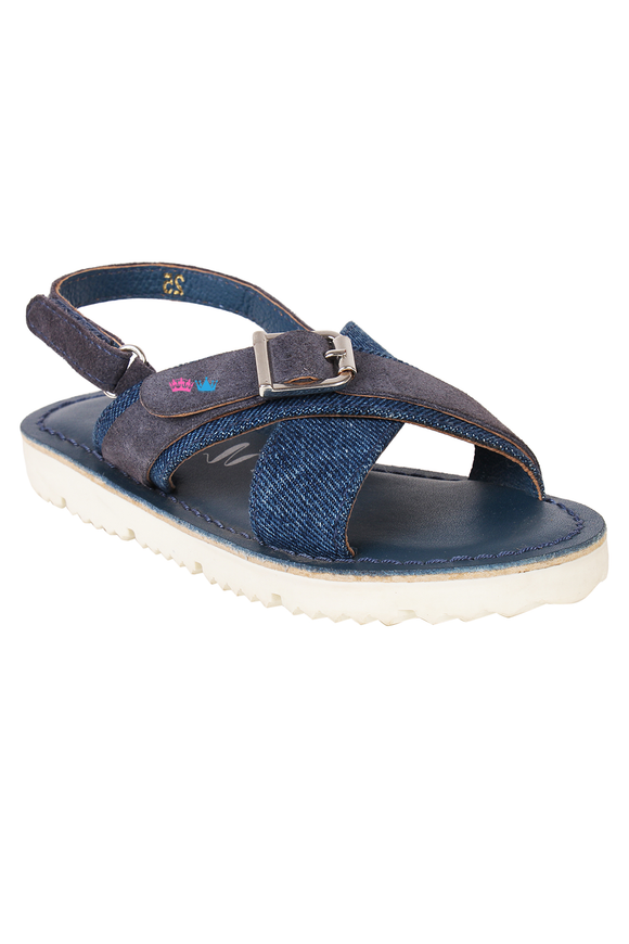 Navy blue buckle sandals