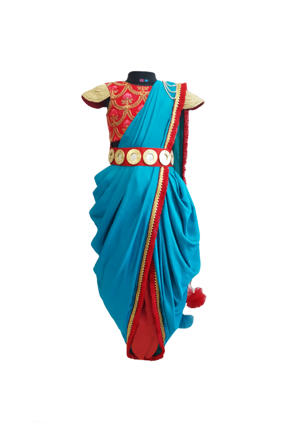 Red embroidered choli with blue drape and maroon dhoti set