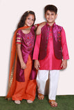 Mom and daughter purple /peach/orange kurta
