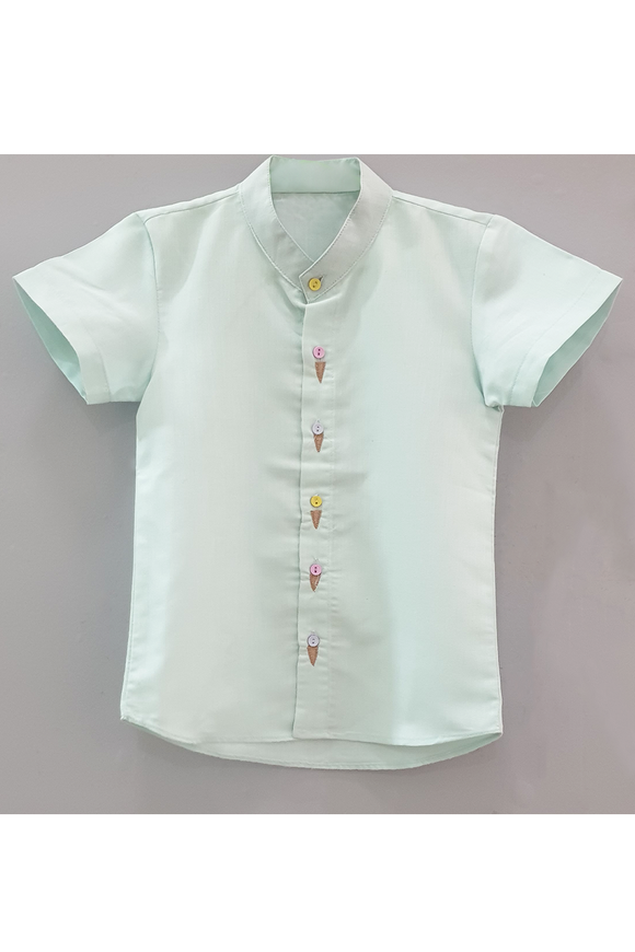 Icecream embroidered mint green short sleeves shirt