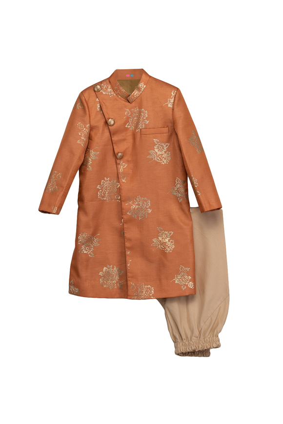 Peach foil print sherwani with churidar