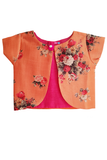 Orange Flower Jacket with Layered Palazzo and Pink Crop top