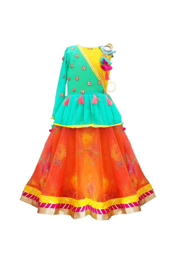 Orange organza lehenga with half peplum top