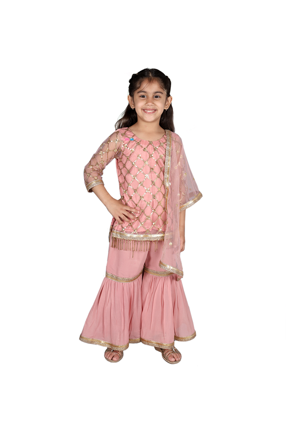 Baby pink sharara suit with sequin work