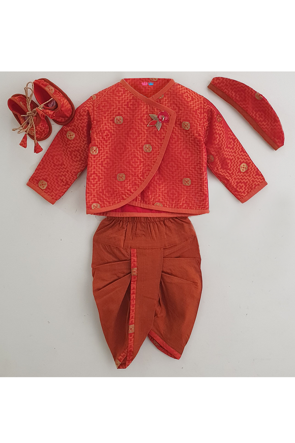 Orange self jacquard silk jamna set