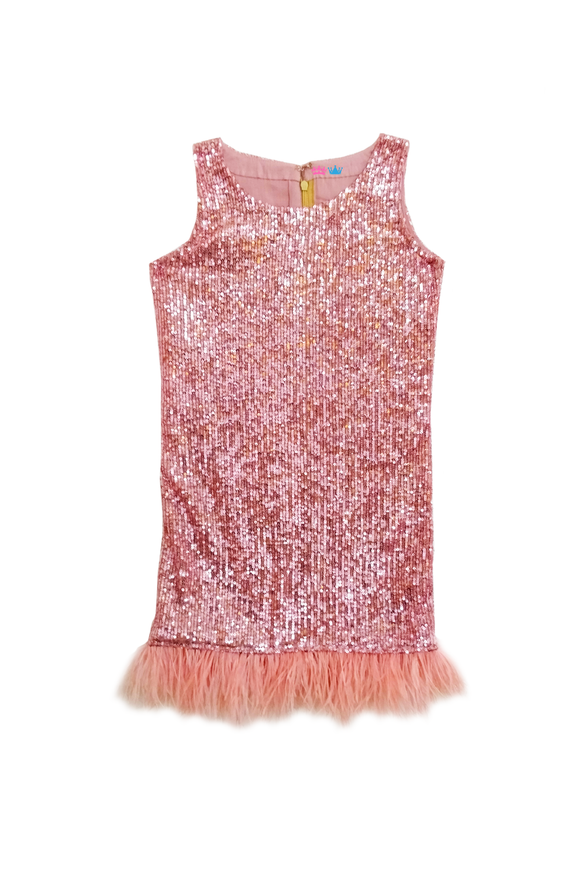 Pink sequin dress with feather border