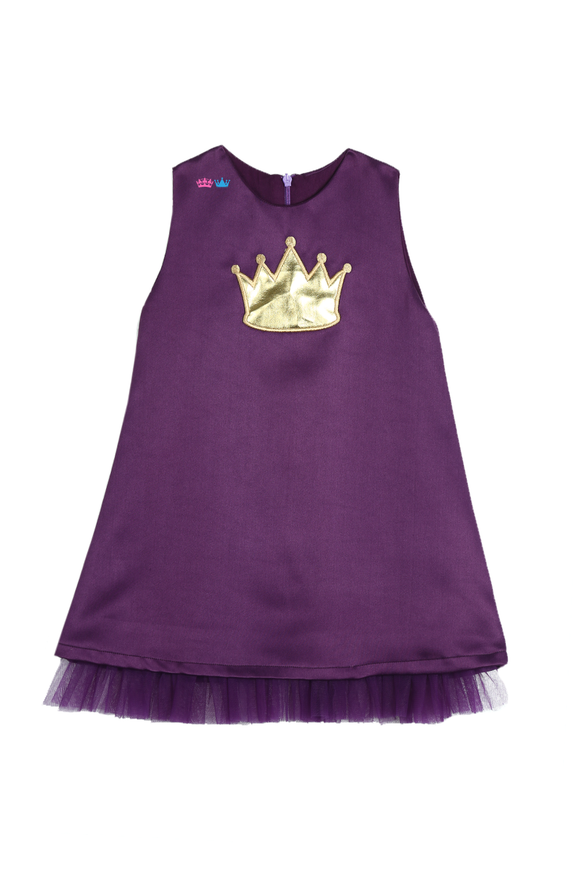 Purple A-line dress with handcrafted crown applique in golden leather