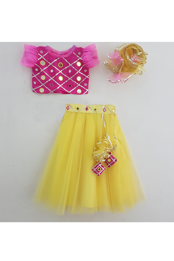 Hot pink and lemon mirror embroidered lehenga