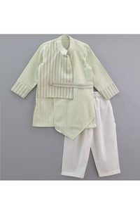 Mock jacket overlapping asymmetrical kurta with pyjama