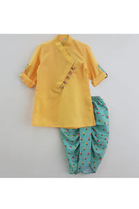 Yellow kurta with aqua green printed dhoti cow